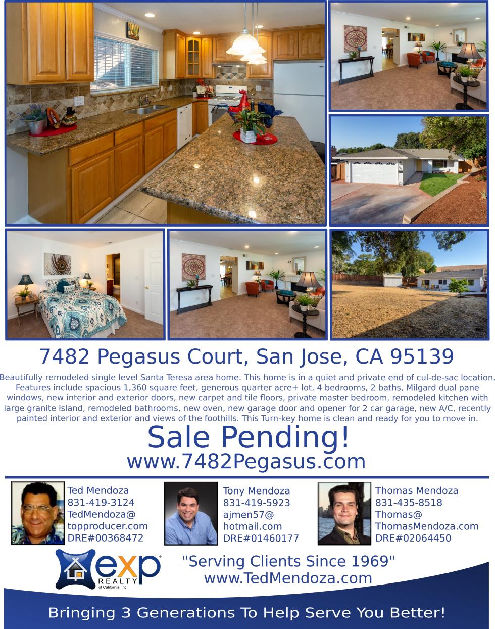 7482 Pegasus Court, San Jose CA